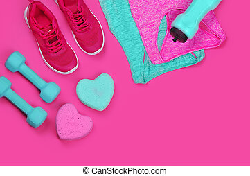 Concept of love to sports and fitness still life on pink background