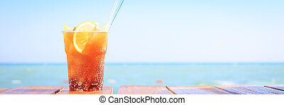 Concept of luxury tropical vacation. One Cuba Libre cocktail...
