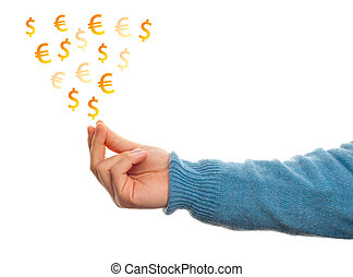 Concept of make money with hand