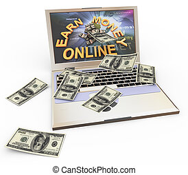 """Concept of making money online - 3d laptop with """"earn money..."""