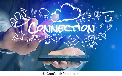 Concept of man holding smartphone with connection icon around