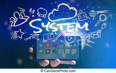 Concept of man holding smartphone with system icon around