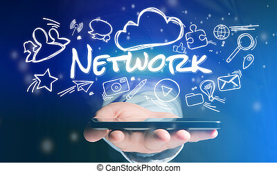 Concept of man holding smartphone with network icon around
