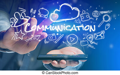 Concept of man holding smartphone with Communication icon around