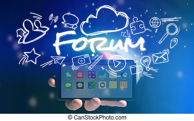 Concept of man holding smartphone with forum icon around