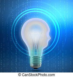 Concept of mechanism light bulb head man