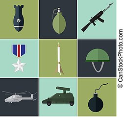 Concept of military equipment flat icons. vector...