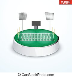 Concept of miniature round tabletop American football stadium