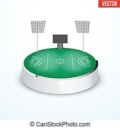 Concept of miniature round tabletop lacrosse stadium