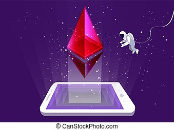 concept of mining of ethereum cryptocurrency. Astronaut...