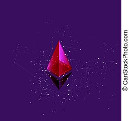 Concept of mining of ethereum cryptocurrency. Symbol among...