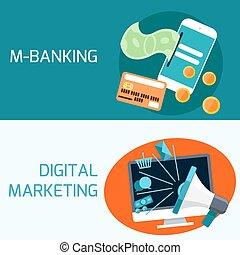 Concept of mobile banking, digital marketing