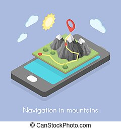 Concept of mobile map in mountains.