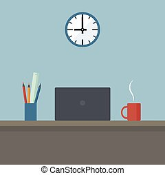 Concept Of Modern Office Design Interior Without People. Workplace With Coffee Drink, Laptop And Clock On The Wall Symbolizing Begining Or End Of Working Day. Cartoon Flat Style. Vector Illustration