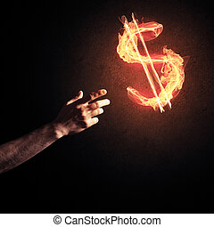 Concept of money making with dollar currency fire symbol on dark
