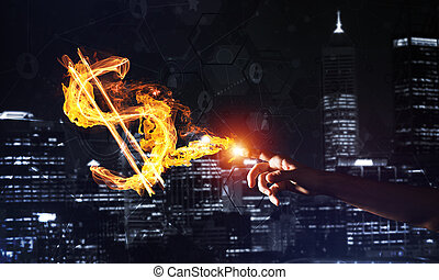 Concept of money making with dollar fire symbol on dark background