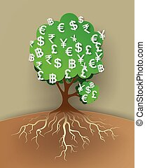 concept of money tree . Vector illustration