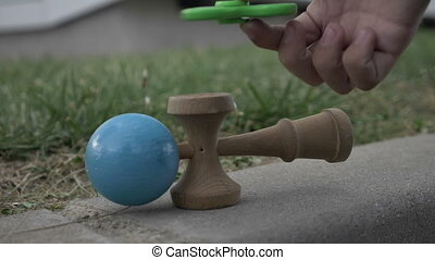 Concept of most popular toys for children and adults kendama...