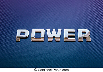 Concept of motor sport, speed, engine power. Letters on carbon fiber background