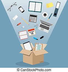Concept of moving into a new office,
