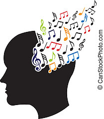 Concept of musical brain logo