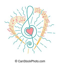 concept of musical representation in the form of a treble clef with a heart and flying rays and notes. Icon in the linear style