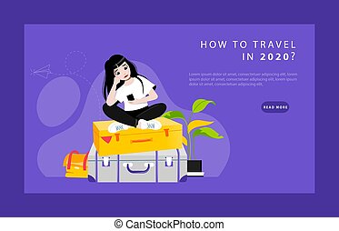 Concept Of Musings About Travelling. Website Landing Page. Sad, Perplexed and Upset Of Hopelessness Girl Sitting On Luggage And Find Ways Of Travel. Web Page Cartoon Flat Style. Vector Illustration