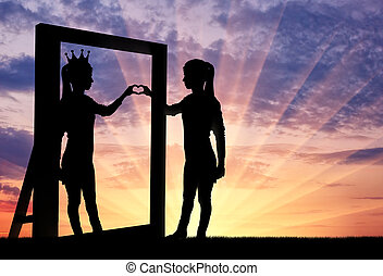 Concept of narcissism and selfishness - Silhouette of a ...
