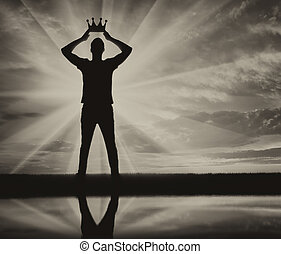 Concept of narcissism and selfishness. Silhouette of a...