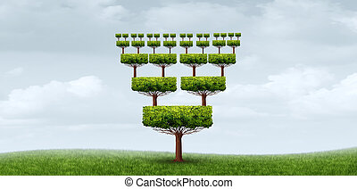 Concept of nepotism and conflict of interest abstract business symbol as a tree with relatives from the same root with 3D illustration elements.