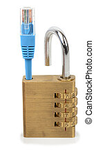 network security - Concept of network security a padlock and...