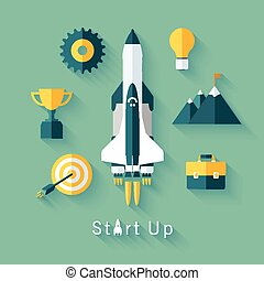Concept of new business project startup development and...
