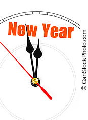 concept of New Year  - clock face, concept of New Year