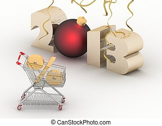 concept of new-year sales. 3d illustration on white background.