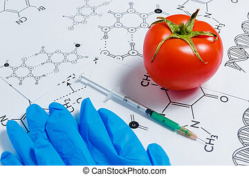 Concept of Non-natural Products, Gmo. Syringe, Blue Gloves and Red Tomato on White Background with Chemical Formula,