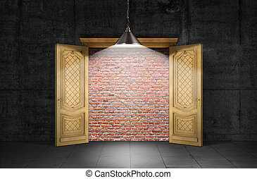 Concept of obstacle. Opened door with a brick wall inside ...