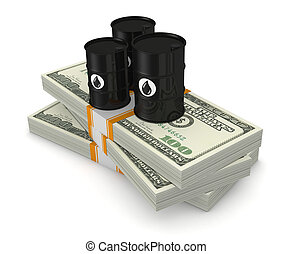 concept of oil market - top view of a stack of dollars with...