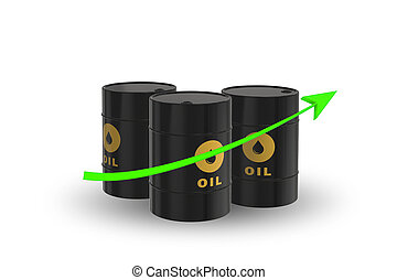 Concept of oil prices on white - 3d rendering