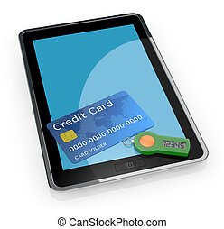 concept of online banking service - one tablet pc with a...
