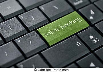 Concept of online booking - Words online booking on button...