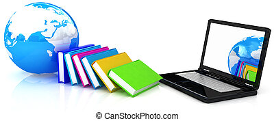 concept of online education on a white background