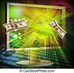 concept of online making money - Illustration of online...