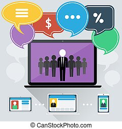 Concept of online meeting, conference, webinars