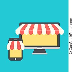 Concept of online shop, e-commerce, flat icons style of computer and mobile phone