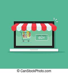 Concept of online shop, e-commerce internet store vector illustration