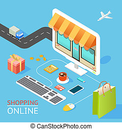 Concept of online shop - Vector concept of online shop in 3d...
