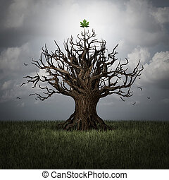 Concept of optimism as a tree in crisis with no leaves and one green leaf surviving as a business or psychological symbol of persistence and determination to have faith and never give up with 3D illustration elements.