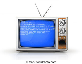 Concept of overload of ether. Broken retro TV with error on...