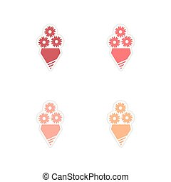 Concept of paper stickers on white background bouquet of flowers