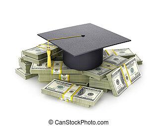 concept, of., paquet, graduate's, education., cout, illustration, chapeau, 3d
